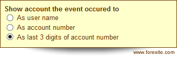 Options of the real account settings